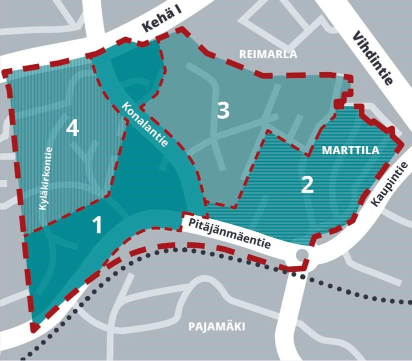 """Putkisaneerauksen aluekartta ja vaiheet 1-4, joiden sijainti on avattu tarkemmin artikkelissa """"Miten työmaa sijoittuu sinun arkeesi"""""""